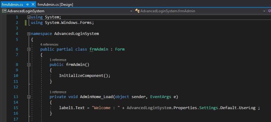 Advance Login System-Admin Form Code