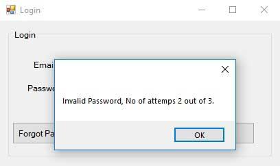 Advance Login System-frmLogin-Invalid Password Attempt2