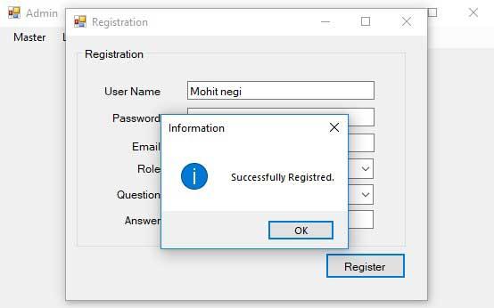Advance Login System-Registration-Successfully Registration MSG