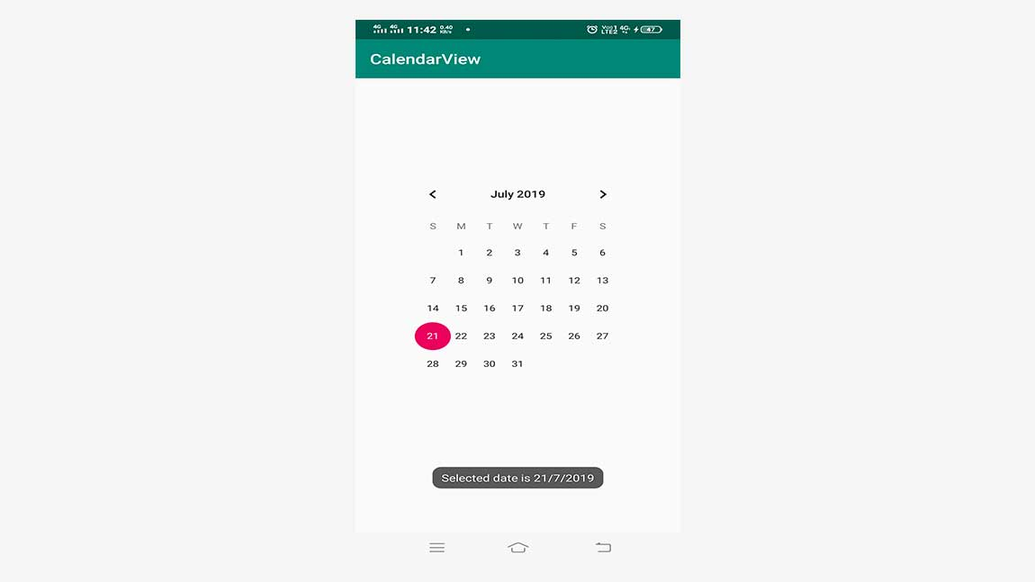 Android GUI Android CalendarView