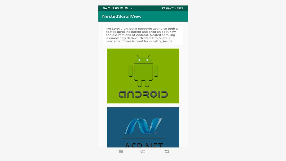 Android GUI Android NestedScrollView