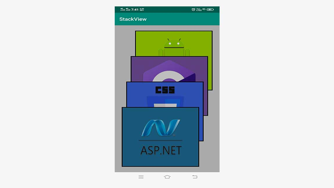 Android GUI Android StackView