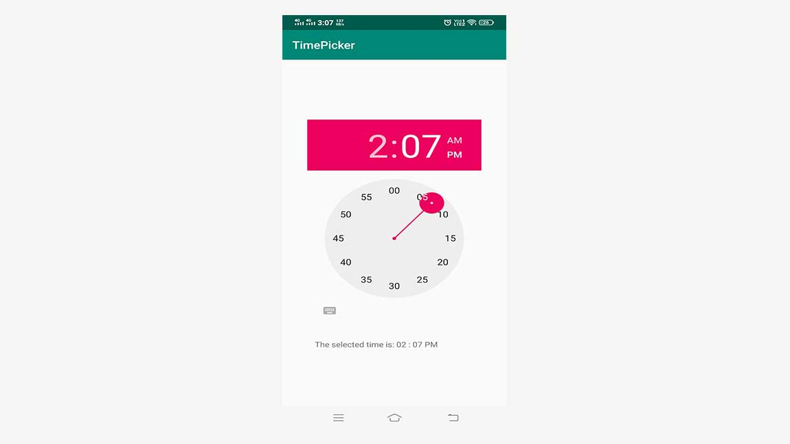 Android GUI Android TimePicker